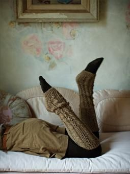 These extra long legwarmers can be worn straight or rumpled and have been designed by Martin Storey using Lima.