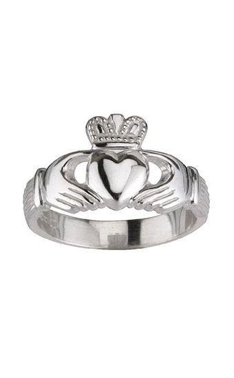 Silver Claddagh Ring, for her by Scotweb Tartan Mill