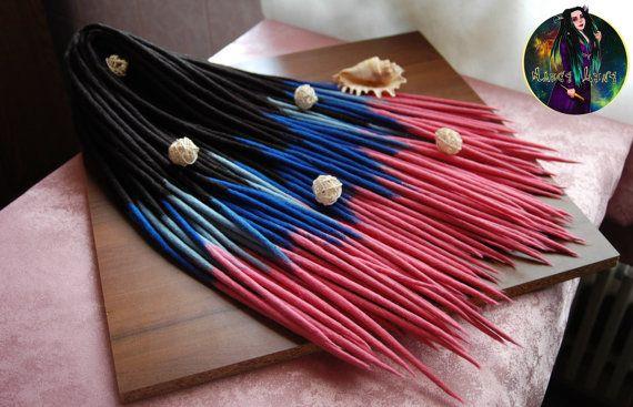 Lot de laine double terminé redoute « Sirène ». Ensemble complet de dreads synthétiques. Extensions de laine de dreadlock. Dreadlocks en laine. Pour la tête pleine.