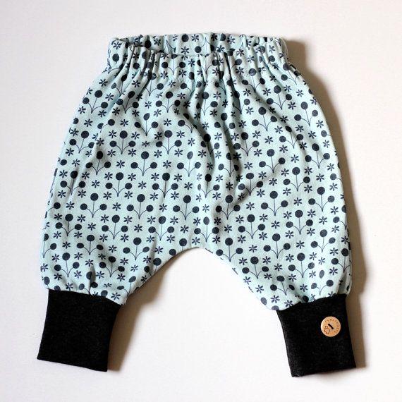Blauw warm baby harem broekje voor baby meisje of door LindiMelse