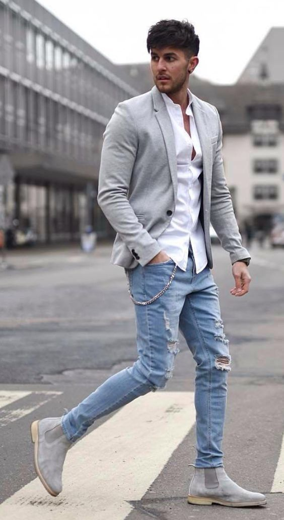 Grey Suede Boots With White Shirt Grey Blazer And Ripped