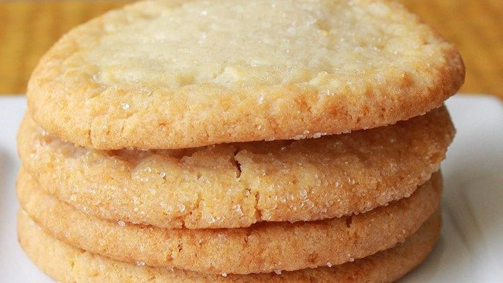 I love sugar cookies that are crisp on the outside and very chewy on the inside.  This recipe can easily be made into snickerdoodle cookies by rolling the dough in cinnamon-sugar before baking.  I also sometimes add almond extract for a different flavor.