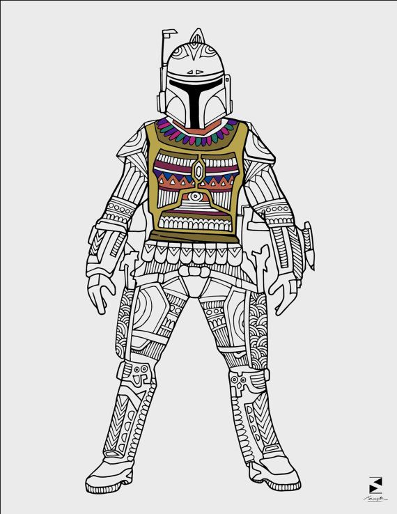 Star Wars Coloring Pages Boba Fett Printable Adult Book Sheets Gifts Birthday