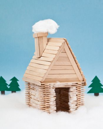 "Kids entranced by Little House on the Prairie? This popsicle stick ""log cabin""…"