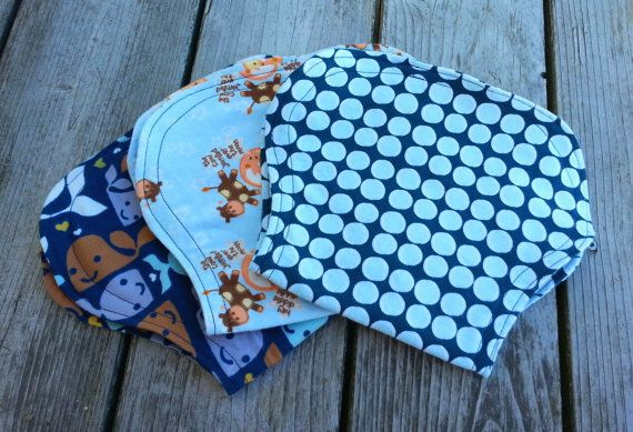 Contoured Flannel Burp Cloths Set of 3 by abcbaby123 on Etsy, $12.00