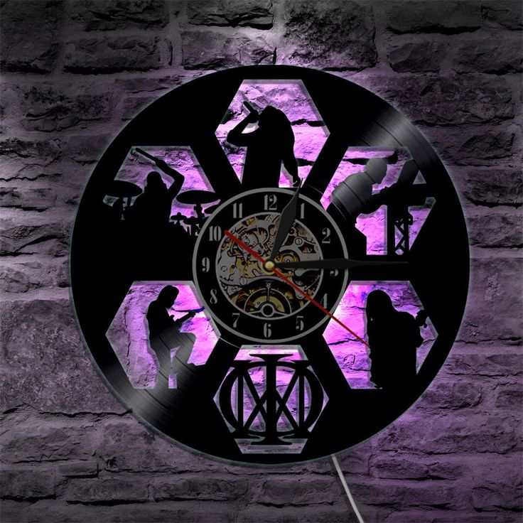 Dream Theater Silhouette Vinyl Record Led Back Lighting Clock Shadow Art Gift