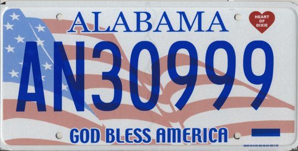 Alabama State License Plate     This is the official license plate for the state of Alabama as it has been officially adopted by the state legislature. Also known as a vehicle registration plate, it is used to identify the car and owner of a motor vehicle or trailer in the state.