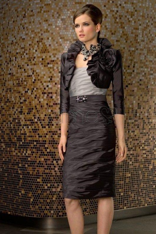 Etui umgedrehtes Dreieck knielanges glamouröses & dramatisches informelles & legeres Brautmutterkleid mit Jacke