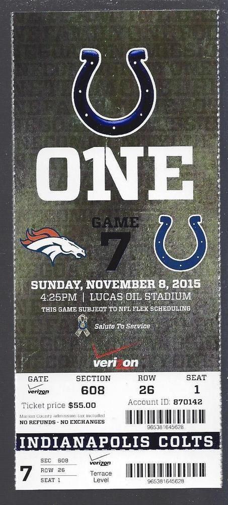 2015 #NFL Denver #Broncos @ Colts Full Unused #Football Ticket - Super Bowl 50 from $10.0