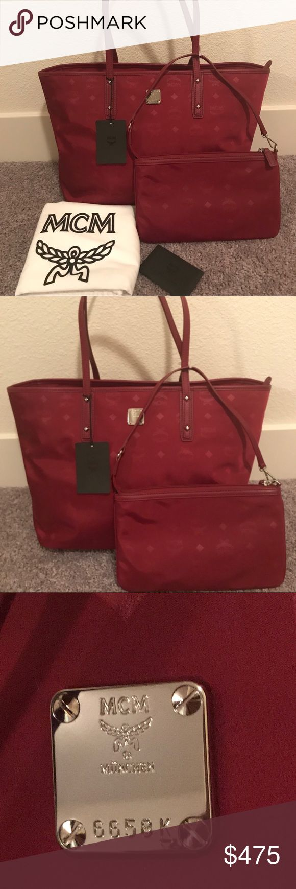 NEW MCM Medium Anya Nylon Tote Brand New MCM Anya Tote in Ruby Red Color!!!!  Perfect for everyday bag. It has top zip closure and a detachable zip pouch. This bag is Nylon with leather trim.  Retail Price $495 plus tax MCM Bags Totes