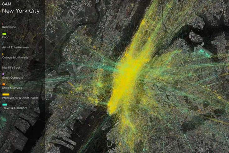 What happens in New York City over the course of a day? People come, people go. People eat, people shop. This is a very uninteresting story. But when it's mapped out in a time-lapse video of Foursquare check-ins, it's mesmerizing.