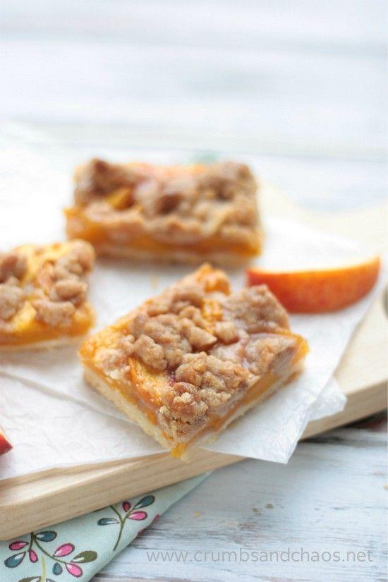 Cinnamon Streusel Peach Pie Bars | recipe on www.crumbsandchaos.net