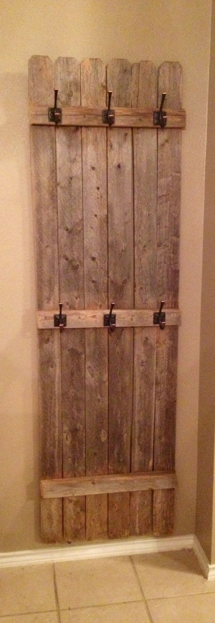 Old fence turned coat rack. VB