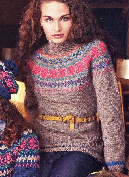 женский свитер с жаккардовым узором спицами