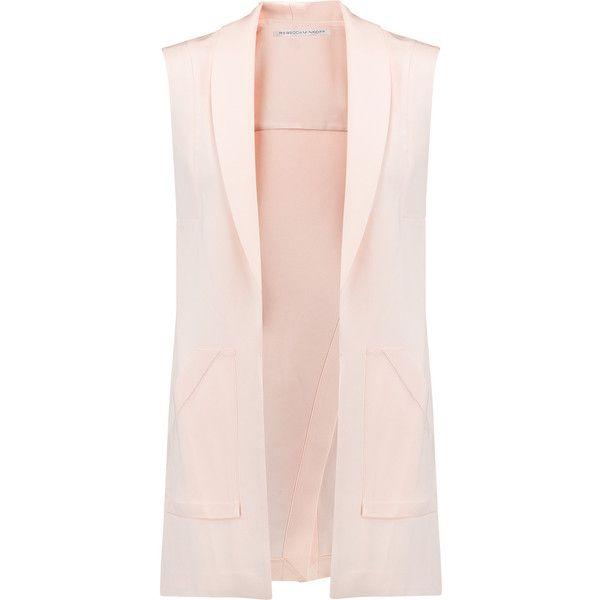 Rebecca Minkoff Bitten silk vest ($205) ❤ liked on Polyvore featuring outerwear, vests, blush, vest waistcoat, pink vest, silk vest and rebecca minkoff