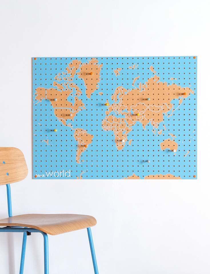 圖片 英國 Block 原木牆面收納板 世界地圖