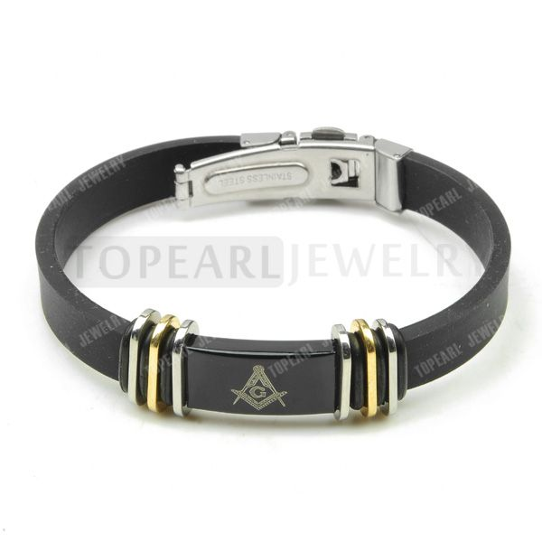 Topearl Jewelry 3pcs Freemason Masonic Stainless Steel Black Rubber Bracelet MEB865
