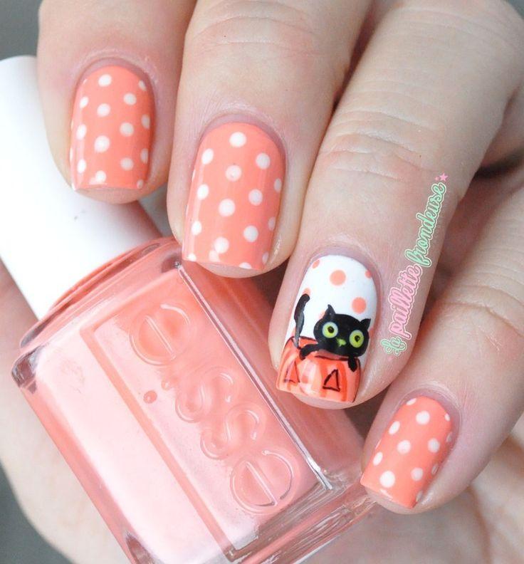 20 Cute Dotticure and Polka Dots Nail Arts Ideas - Best 25+ Cat Nail Designs Ideas On Pinterest Cat Nail Art, Cat