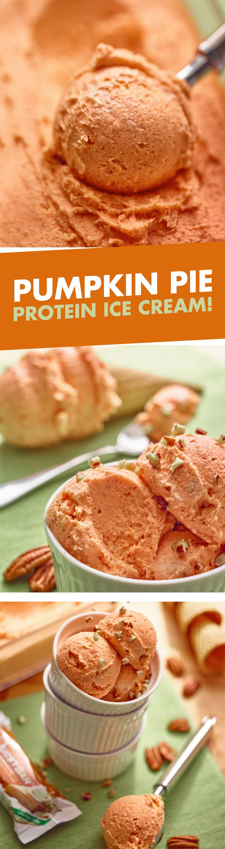 5 words: Pumpkin Pie Protein Ice Cream! Cheers to a deliciously creamy and dreamy dessert.