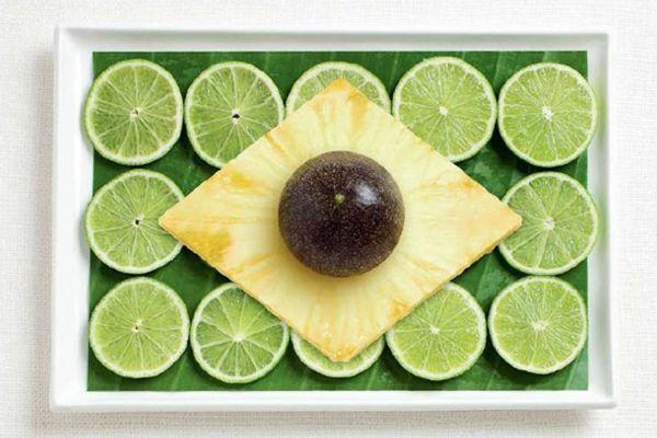 Brezilya Muz yaprağı, misket limon, ananas, çarkıfelek meyvesi