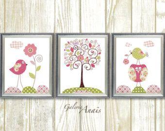 Chica vivero arte de la pared, pared de decoración bebé vivero arte Girl, vivero de aves, buho, árbol, conjunto de 3 grabados - Chic y cutre