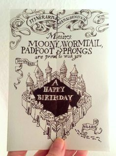 Harry Potter Birthday Card, the marauders map - Karte des Rumtreibers Geburtstagskarte