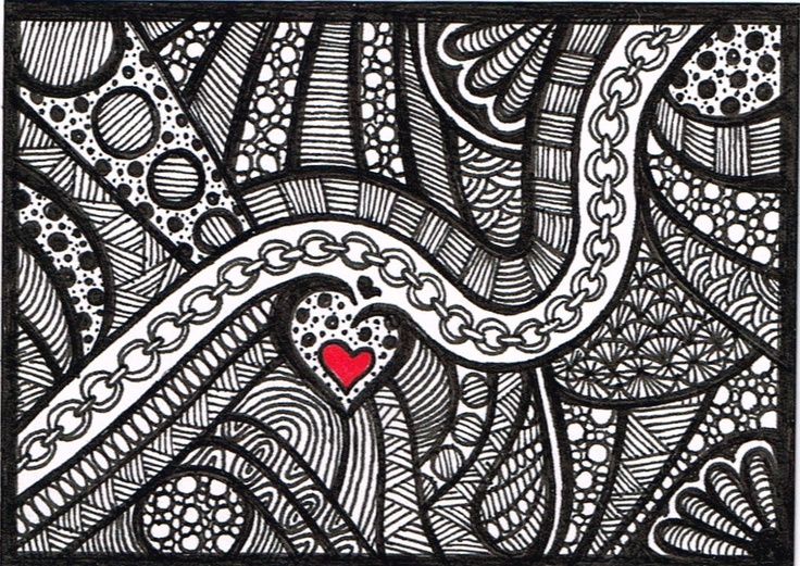 ACEO Black And White Zentangle Valentine Drawing Not A Print Drawings