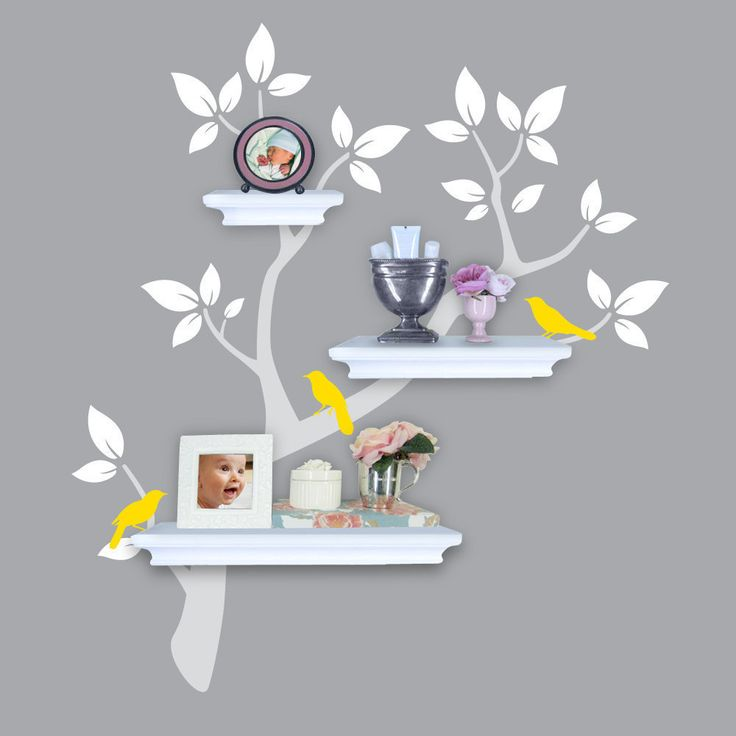 Tree Wall Decals - Tree Branch Decal with Birds for Shelving - Shelf Organizer -