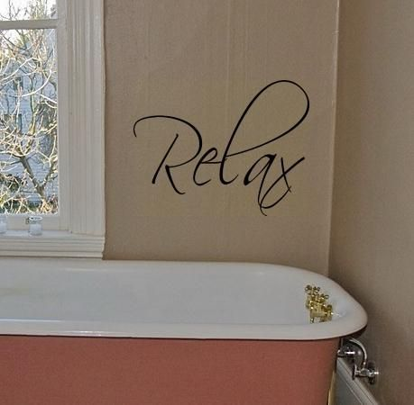 items similar to relax vinyl wall decal lettering art graphic pretty decor for bathroom on etsy