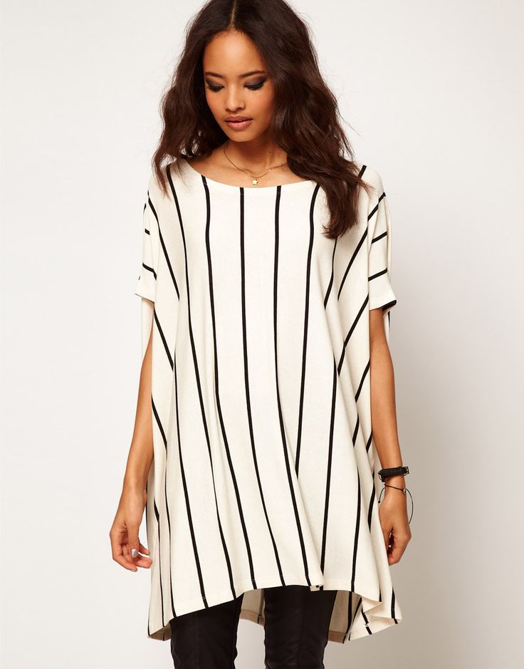 Asos Collection Asos Oversized Tshirt with Vertical Stripe in Beige (cream)
