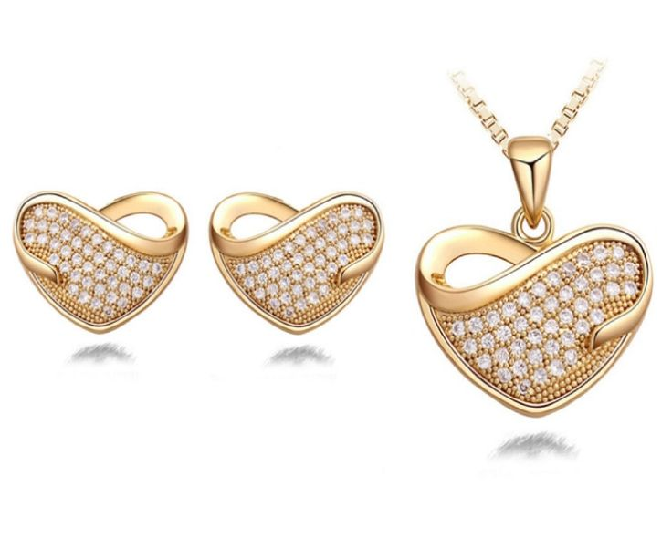 $9 for a Quad Row Elements Heart Necklace & Earrings Set