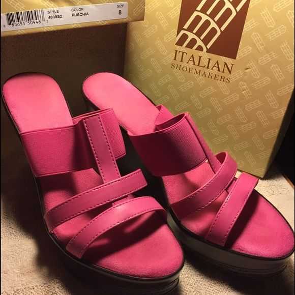 Hot Pink Italian Shoe Makers Wedge Mule Sandals HOT Pink Wedge Italian Shoe Makers Mule Sandals - Gently Used! Very comfy in sexy hot pink with brown wedge. Italian Shoe Makers Shoes Wedges