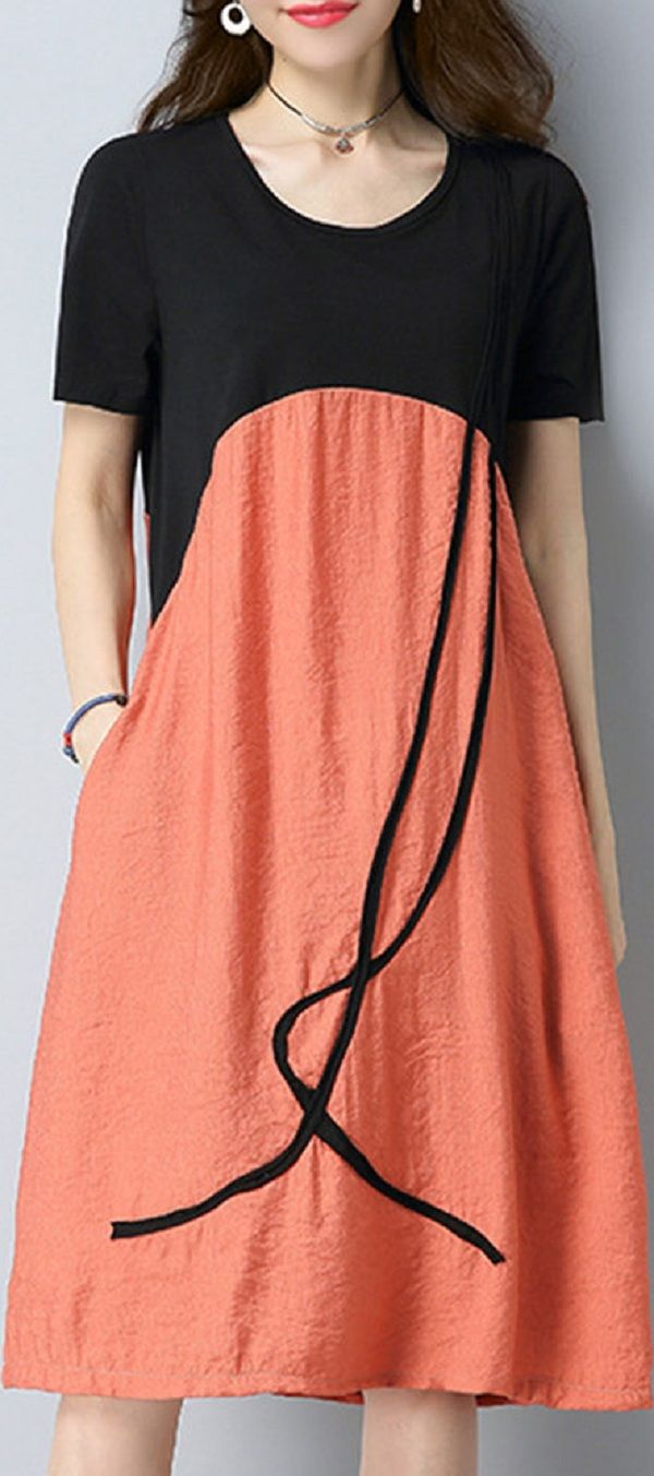 US$ 27.99 Vintage Loose Splicing Printed Short Sleeves Dresses For Women