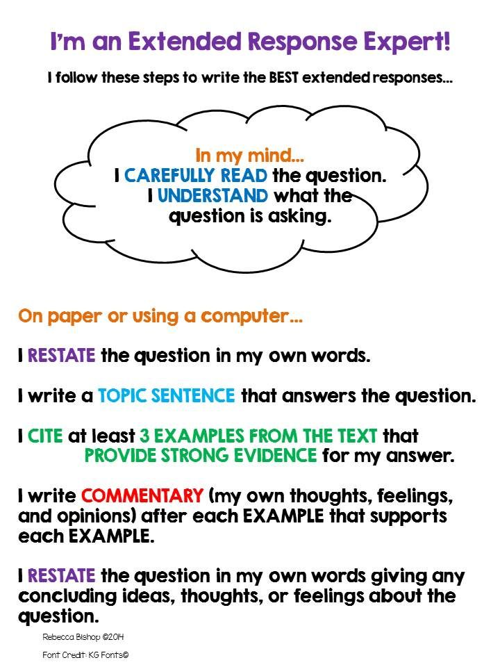 extended response anchor chart and template for writing