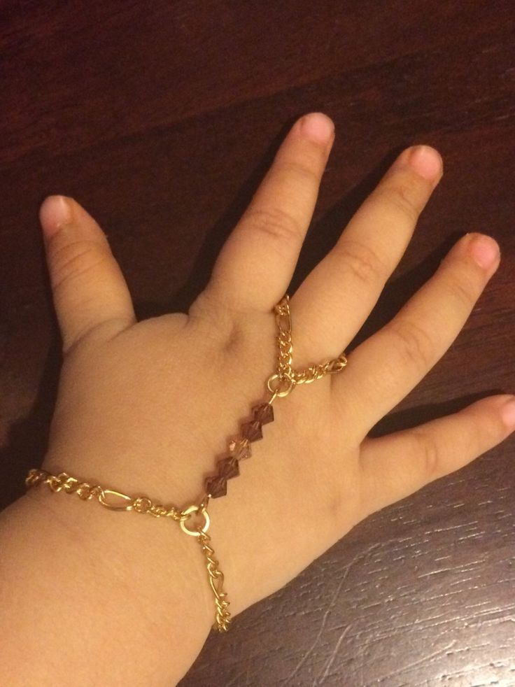 Baby girl slave bracelet or hand harness gold plated made with ...