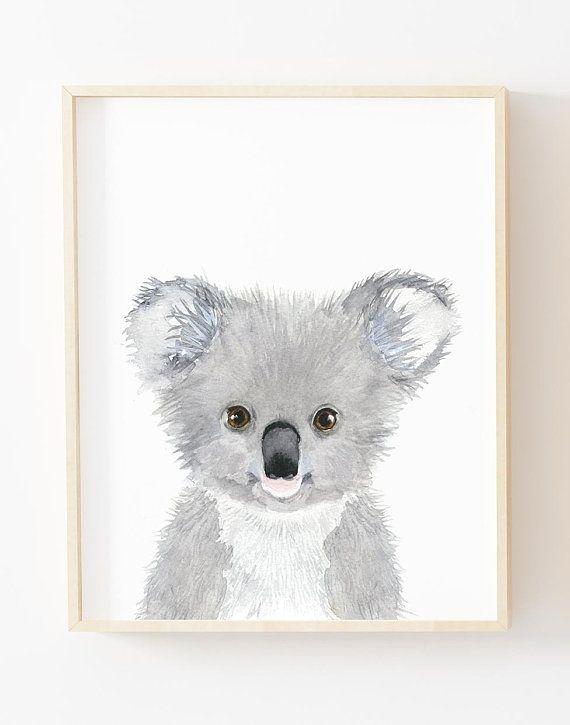 Watercolor koala, nursey print, Australian animals nursery, koala nursery art decor, cute koala, Animal Wall Art, Childrens Wall Decor