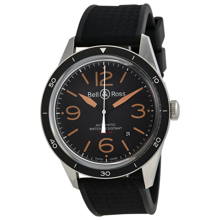 Bell and Ross Vintage Sport Black Dial Black Rubber Men's Watch RBRV123-ST-HER-SRB - Vintage - Bell and Ross - Shop Watches by Brand - Jomashop