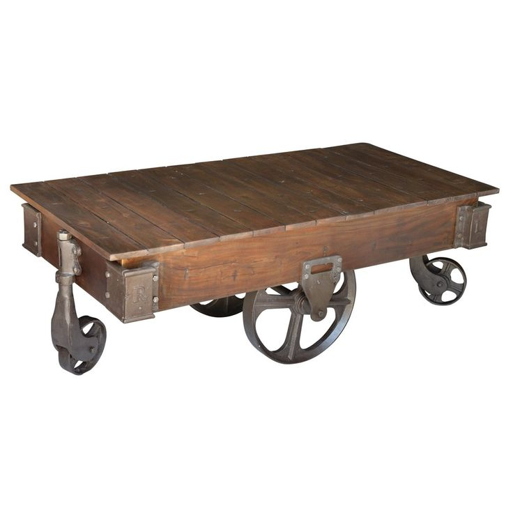 Fenman Wood and Cast Iron Coffee Table