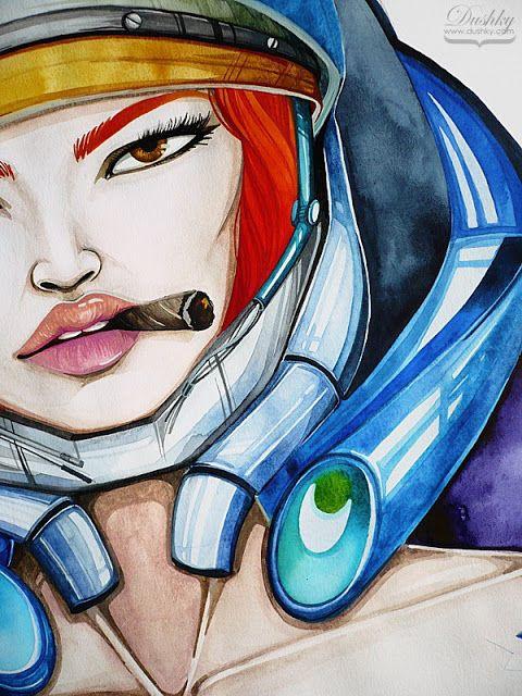 illustration by #dushky | #art #fashion #illustration #gaming #videogames #starcraft #girl #ginger #orange #blue #lips #look #cigar #watercolor #metal #armour #corphack