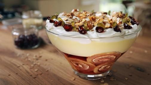 Nigel Slater shares an easy recipe with all the right ingredients: cream, booze and cherries on top.