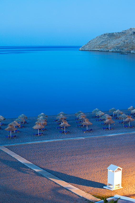 Lindos Beach by night, Rhodes. For luxury hotels in Rhodes visit http://www.mediteranique.com/hotels-greece/rhodes/