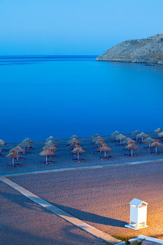 Lindos Beach by night, Rhodes. For luxury hotels in Rhodes visit http://www.mediteranique.com/hotels-greece/rhodes/