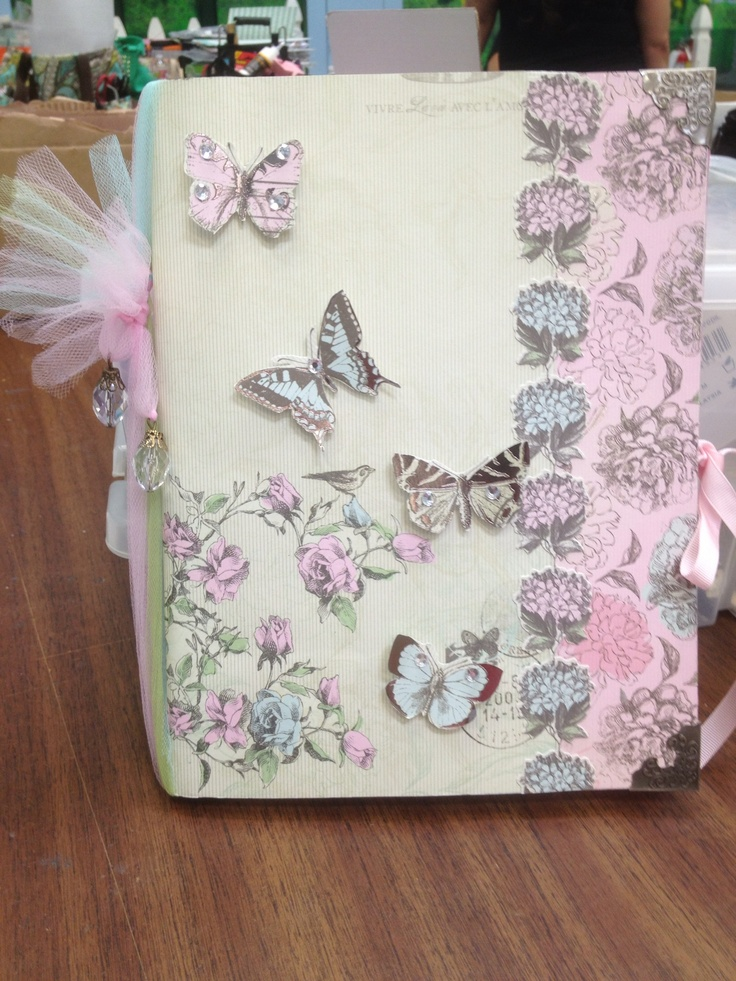 By RuthIroo. Altered composition notebook w 3d butterflies, and bling.