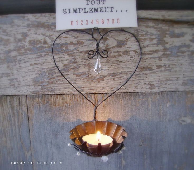wire heart candle
