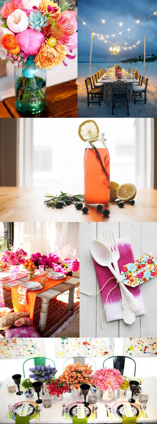Bold colors in this bridal shower inspiration board.