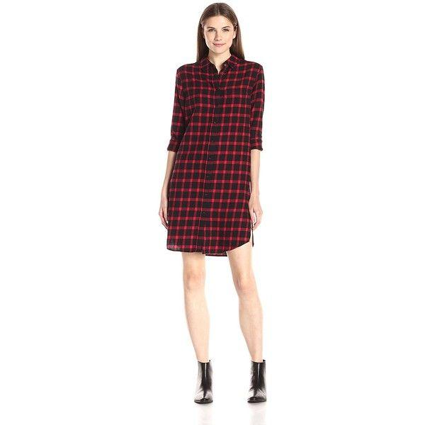 Eleven Paris Women's Tartan Plaid Shirt Dress ($23) ❤ liked on Polyvore featuring dresses, long shirt dress, tartan shirt dress, elevenparis, plaid shirt dresses and plaid dresses