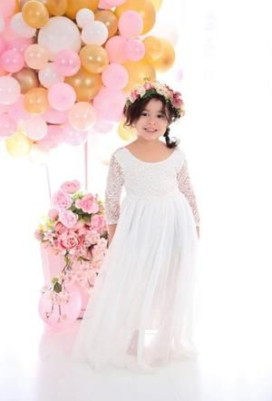 Kryssi Kouture Veronica Soft White Eyelash Long Sleeve Lace with a White Long Straight Skirt