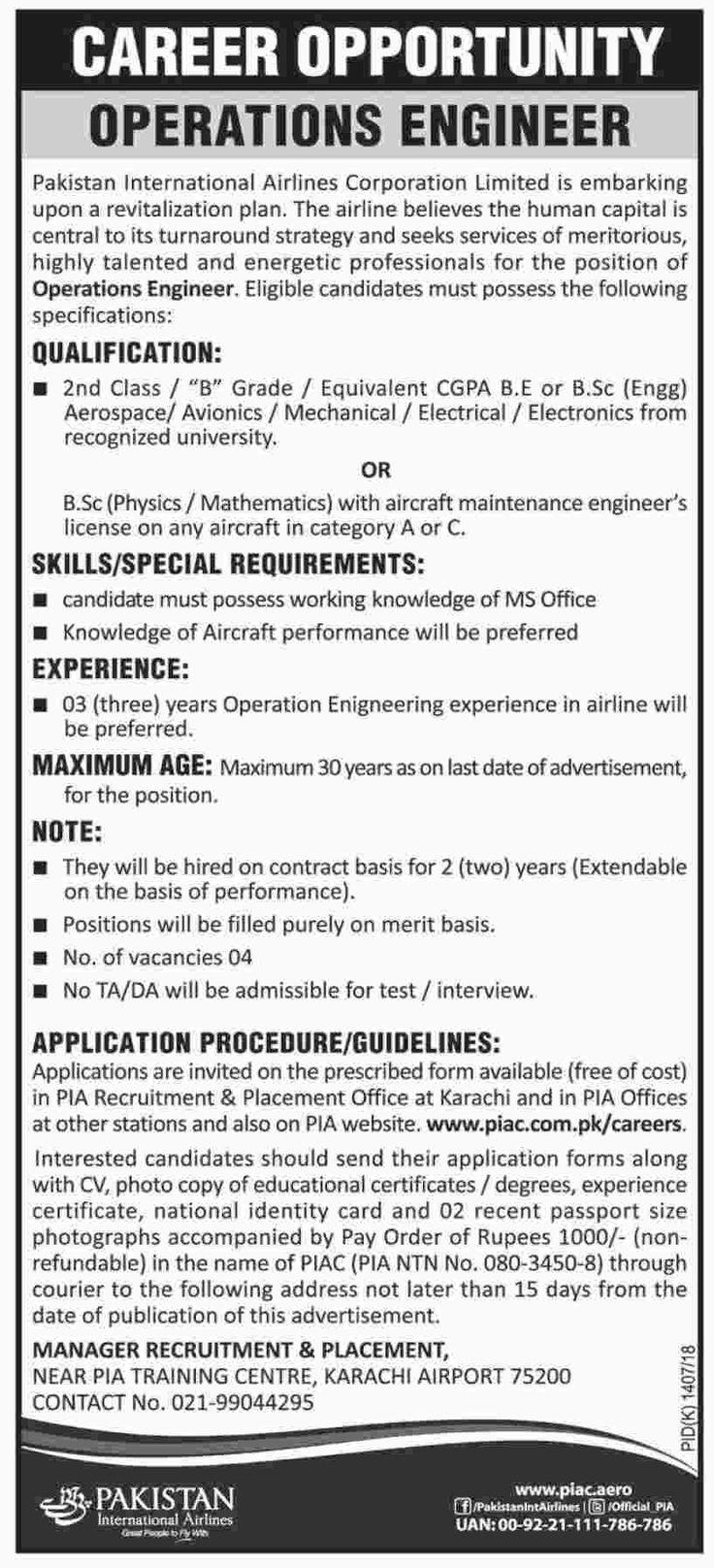 Pakistan International Airlines Jobs 2017 In Karachi For Operations Engineer http://www.jobsfanda.com/pakistan-international-airlines-jobs-2017-for-operations-engineer/
