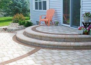 Semi Circle Patio Steps With Soilder Course Paving Blocks