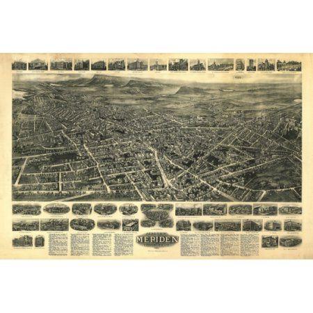 Antique Map of Meriden Connecticut 1918 New Haven County Canvas Art - (36 x 54)